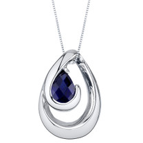 Created Sapphire Sterling Silver Wave Pendant Necklace