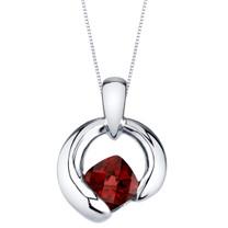 Garnet Sterling Silver Cushion Cut Orbit Pendant Necklace