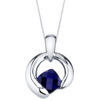 Created Sapphire Sterling Silver Cushion Cut Orbit Pendant Necklace