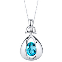 Swiss Blue Topaz Sterling Silver Cascade Pendant Necklace