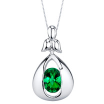 Simulated Emerald Sterling Silver Cascade Pendant Necklace