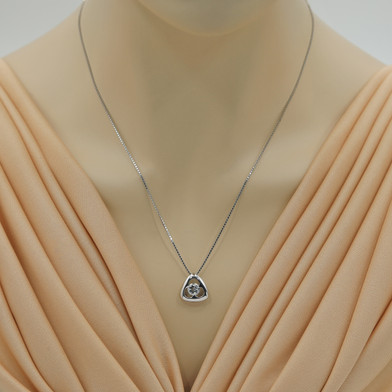 Aquamarine Sterling Silver Trinity Knot Pendant Necklace