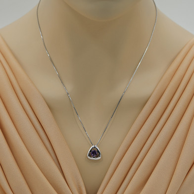 Amethyst Sterling Silver Trinity Knot Pendant Necklace