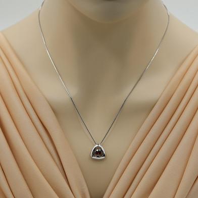 Garnet Sterling Silver Trinity Knot Pendant Necklace