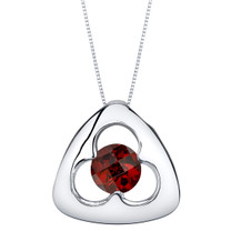Garnet Sterling Silver Trinity Knot Pendant Necklace