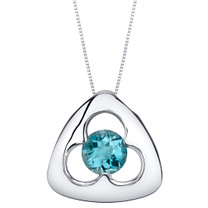 London Blue Topaz Sterling Silver Trinity Knot Pendant Necklace