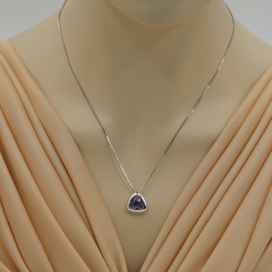 Created Sapphire Sterling Silver Trinity Knot Pendant Necklace
