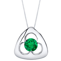 Simulated Emerald Sterling Silver Trinity Knot Pendant Necklace