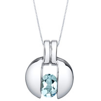 Aquamarine Sterling Silver Starship Pendant Necklace