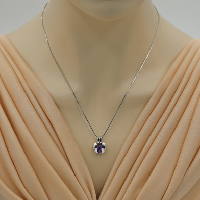 Amethyst Sterling Silver Starship Pendant Necklace