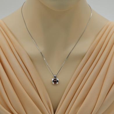 Garnet Sterling Silver Starship Pendant Necklace