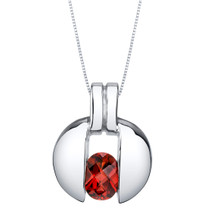 Garnet Sterling Silver Starship Pendant Necklace
