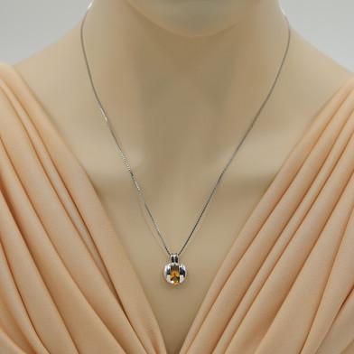 Citrine Sterling Silver Starship Pendant Necklace