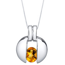 Citrine Sterling Silver Starship Pendant Necklace