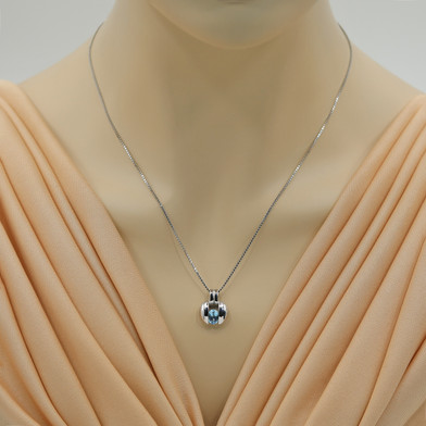 Swiss Blue Topaz Sterling Silver Starship Pendant Necklace