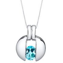 Swiss Blue Topaz Sterling Silver Starship Pendant Necklace