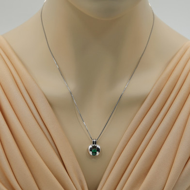 Simulated Emerald Sterling Silver Starship Pendant Necklace