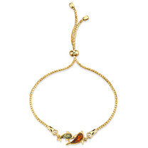 Baltic Amber Dolphin Gold-Tone Sterling Silver Bolo Adjutable Bracelet