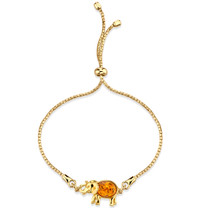 Baltic Amber Gold-Tone Sterling Silver Elephant Bolo Adjustable Bracelet
