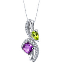 Amethyst and Peridot Sterling Silver Ellipse Pendant Necklace