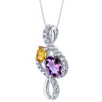 Amethyst and Citrine Sterling Silver Chorus Pendant Necklace