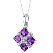 Amethyst Quad Pendant Necklace in Sterling Silver