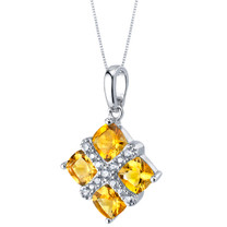 Citrine Quad Pendant Necklace in Sterling Silver