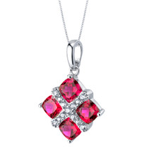 Created Ruby Quad Pendant Necklace in Sterling Silver
