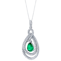 Tear Drop Simulated Emerald Sterling Silver Glamour Pendant Necklace