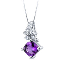 Amethyst Sterling Silver Flair Pendant Necklace