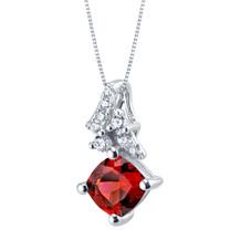 Garnet Sterling Silver Flair Pendant Necklace