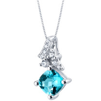 Swiss Blue Topaz Sterling Silver Flair Pendant Necklace