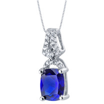 Created Blue Sapphire Sterling Silver Ritzy Pendant Necklace
