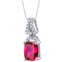 Created Ruby Sterling Silver Ritzy Pendant Necklace