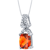 Created Padparadscha Sapphire Sterling Silver Ritzy Pendant Necklace