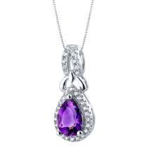 Amethyst Sterling Silver Regina Halo Pendant Necklace
