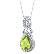 Peridot Sterling Silver Regina Halo Pendant Necklace