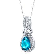 London Blue Topaz Sterling Silver Regina Halo Pendant Necklace