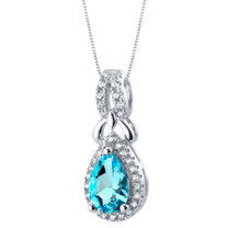 Swiss Blue Topaz Sterling Silver Regina Halo Pendant Necklace