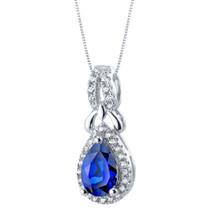 Created Blue Sapphire Sterling Silver Regina Halo Pendant Necklace