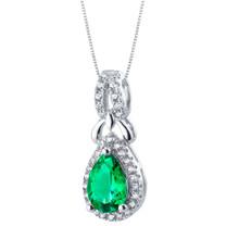 Simulated Emerald Sterling Silver Regina Halo Pendant Necklace