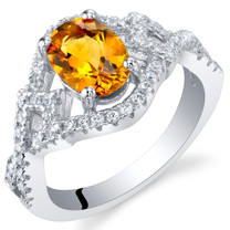 Citrine Sterling Silver Lace Ring Sizes 5 to 9