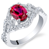 Created Ruby Sterling Silver Lace Ring Sizes 5 to 9