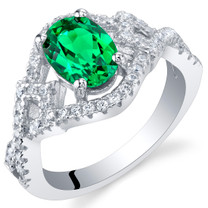 Simulated Emerald Sterling Silver Lace Ring Sizes 5 to 9