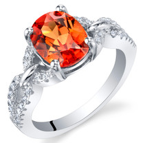 Created Padparadscha Sapphire Sterling Silver Forever Ring Sizes 5 to 9
