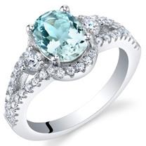 Aquamarine Sterling Silver Keepsake Ring Sizes 5 to 9