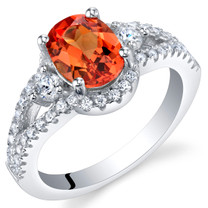 Created Padparadscha Sapphire Sterling Silver Keepsake Ring Sizes 5 to 9