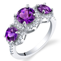 Amethyst Sterling Silver 3 Stone Halo Ring Sizes 5 to 9