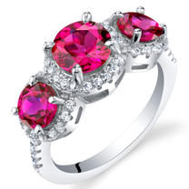Created Ruby Sterling Silver 3 Stone Halo Ring Sizes 5 to 9