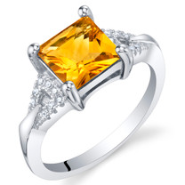 Citrine Sterling Silver Sweetheart Ring Sizes 5 to 9
